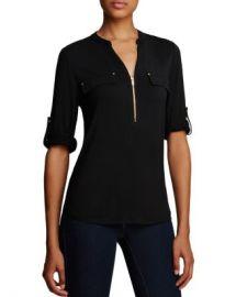 Calvin Klein Zip Front Roll Sleeve Knit Blouse  Women - Bloomingdale s at Bloomingdales