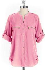 Calvin Klein Zip Pocket Blouse at Lord & Taylor
