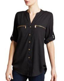 Calvin Klein Zip Pocket Roll Sleeve Shirt Women - Bloomingdale s at Bloomingdales