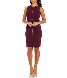 Calvin Klein Zipper Detail Lux Sheath Dress at Dillards