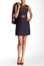 Calvino Leather Trimmed Tweed Fit andamp Flare Dress at Nordstrom Rack