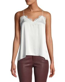Cami NYC The Racer Silk Charmeuse Camisole w  Lace at Neiman Marcus
