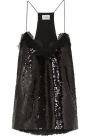 Cami NYC - The Racer lace-trimmed sequined crepe camisole at Net A Porter