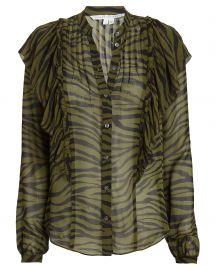 Camilla Ruffled Zebra Print Blouse at Intermix