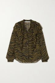 Camilla ruffled zebra-print silk crepe de chine blouse at Net A Porter