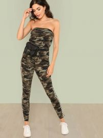 Camo Print Contrast Striped Side Strapless Jumpsuit at Shein