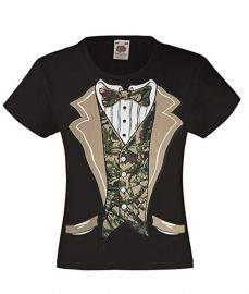 Camo Tuxedo with Bowtie T-Shirt by Fresh Tees  at Amazon