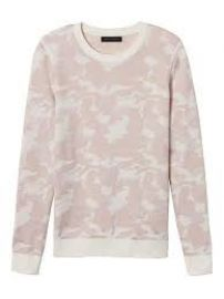 Camo print sweater in blush at Banana Republic