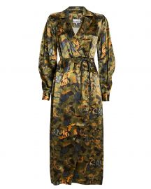 Camouflage Heavy Satin Shirt Dress by Ganni at Intermix