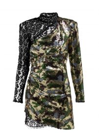 Camouflage and Leopard-Lace Sequinned Mini Dress by Dundas at Matches