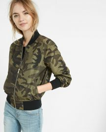 Camouflage bomber jacket at Express