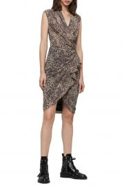 Cancity Leopard Print Wrap Gathered Dress by All Saints at Nordstrom Rack