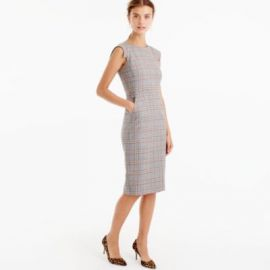 Cap-Sleeve Dress In Glen Plaid at J. Crew