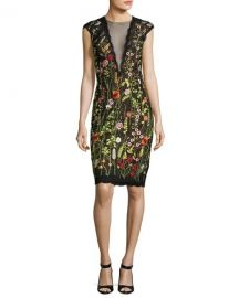 Cap-Sleeve Floral Open-Back Cocktail Dress by Jovani at Last Call