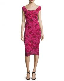 Cap-Sleeve Ruched Rose-Print Dress by Fuzzi at Neiman Marcus