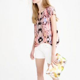 Cap-sleeve marble print top at J. Crew
