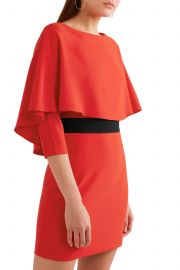 Cape-effect grosgrain-trimmed crepe mini dress at The Outnet
