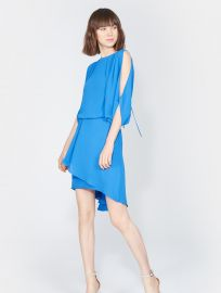Cape sleeve dress at Halston