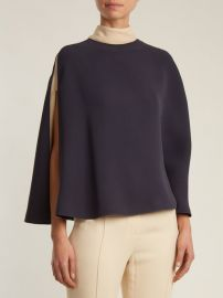 Cape-sleeve tie-neck silk-crepe blouse at Matches
