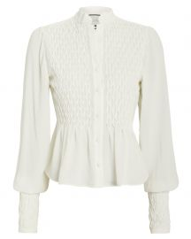 Capizzi Smocked Crepe Blouse at Intermix