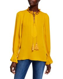 Cara Tassel-Tie Long-Sleeve Silk Blouse at Neiman Marcus