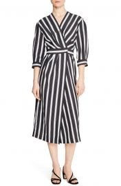 Carl Button Front Stripe Midi Dress by Sandro at Nordstrom