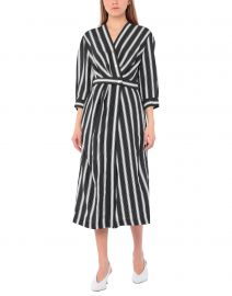 Carl Button Front Stripe Midi Dress by Sandro at Yoox