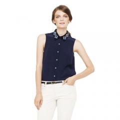 Carla embellished collar top at Club Monaco