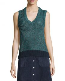Carmen Colorblock Cable-Knit Tank  at Neiman Marcus