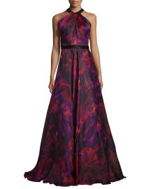 Carmen Marc Valvo Sleeveless Floral Silk Organza Gown at Neiman Marcus