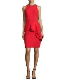 Carmen Marc Valvo Sleeveless Ruffled Peplum Cocktail Dress at Neiman Marcus