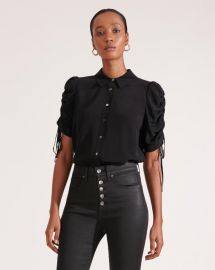 Carmine Ruched Sleeve Blouse by Veronica Beard at Veronica Beard