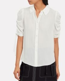 Carmine Silk Ruched Sleeve Blouse by Veronica Beard at Intermix