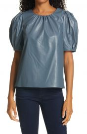 Carol Faux Leather Puff Sleeve Top at Nordstrom