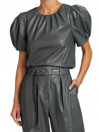 Carol Faux Leather Short Puff-Sleeve Top at Saks Fifth Avenue