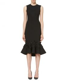 Carolina Herrera Embellished Flounce-Hem Dress at Bergdorf Goodman