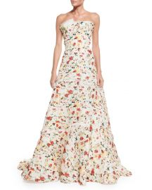 Carolina Herrera Strapless Layered Floral-Print Gown  Multi Colors at Neiman Marcus