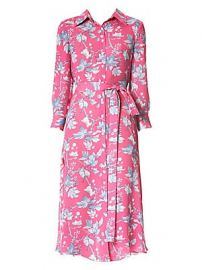 Carolina Herrera - Floral Belted Silk Midi Dress at Saks Fifth Avenue
