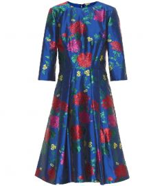 Carolina Herrera 3/4-Sleeve Floral-Jacquard A-Line Cocktail Dress at Mytheresa