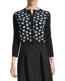 Carolina Herrera 3 4-Sleeve Floral-Embellished Cardigan  Black Green White at Neiman Marcus