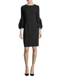 Carolina Herrera Blouson-Sleeve Cocktail Sheath Dress at Neiman Marcus