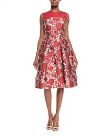 Carolina Herrera Fit-and-Flare Rose-Print Cocktail Dress Red RoseWhite at Neiman Marcus