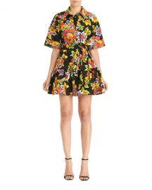 Carolina Herrera Floral Oversized Mini Shirtdress w  Gathered Flounce Hem at Neiman Marcus