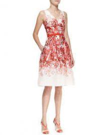 Carolina Herrera Full-Skirt Printed A-Line Dress at Neiman Marcus