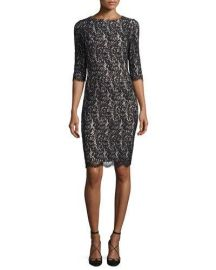 Carolina Herrera Half-Sleeve Lace Sheath Dress  Black at Neiman Marcus