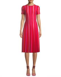 Carolina Herrera Short-Sleeve Striped Knit Pleated Dress at Neiman Marcus