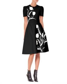 Carolina Herrera Short-Sleeve Tulip-Jacquard Fit-and-Flare Dress at Neiman Marcus