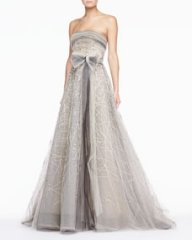 Carolina Herrera Strapless Tulle Gown Platinum at Neiman Marcus