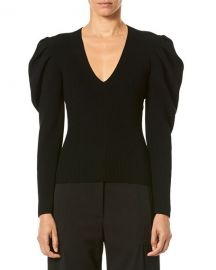 Carolina Herrera V-Neck Puff-Sleeve Fitted Knit Pullover Sweater at Neiman Marcus