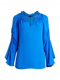 Carolina Ruched Silk Bell-Sleeve Blouse at Saks Off 5th